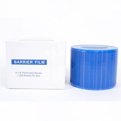 "Barrier Film Roll Tape Blue 4"" x 6"" 1200 Sheets for Dental, Tattoo and Makeup Microblading, with Dispenser Box (600ft)"